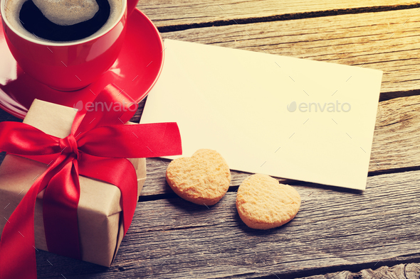 Valentines day greeting card, coffee cup and gift box - Stock Photo - Images