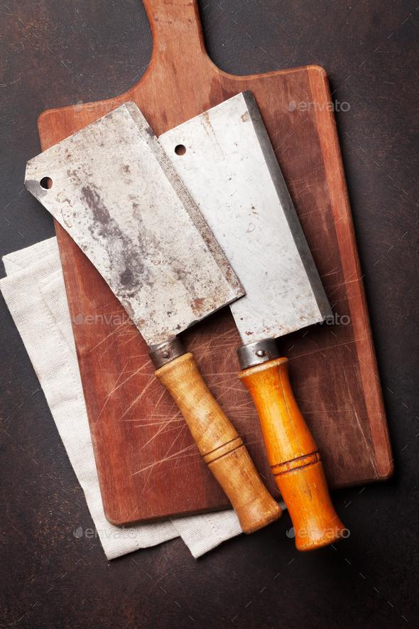 Butcher. Vintage meat knives - Stock Photo - Images