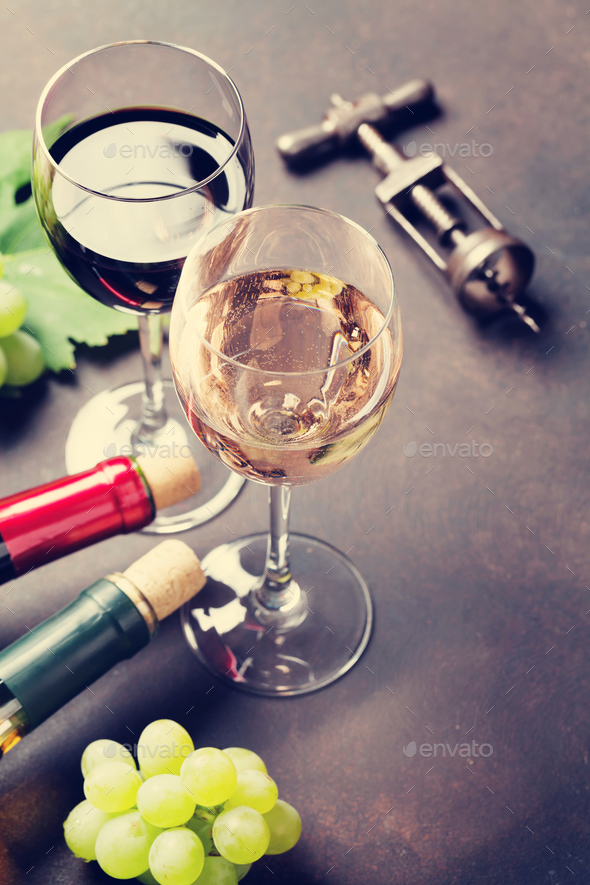 Wine glasses and grapes - Stock Photo - Images