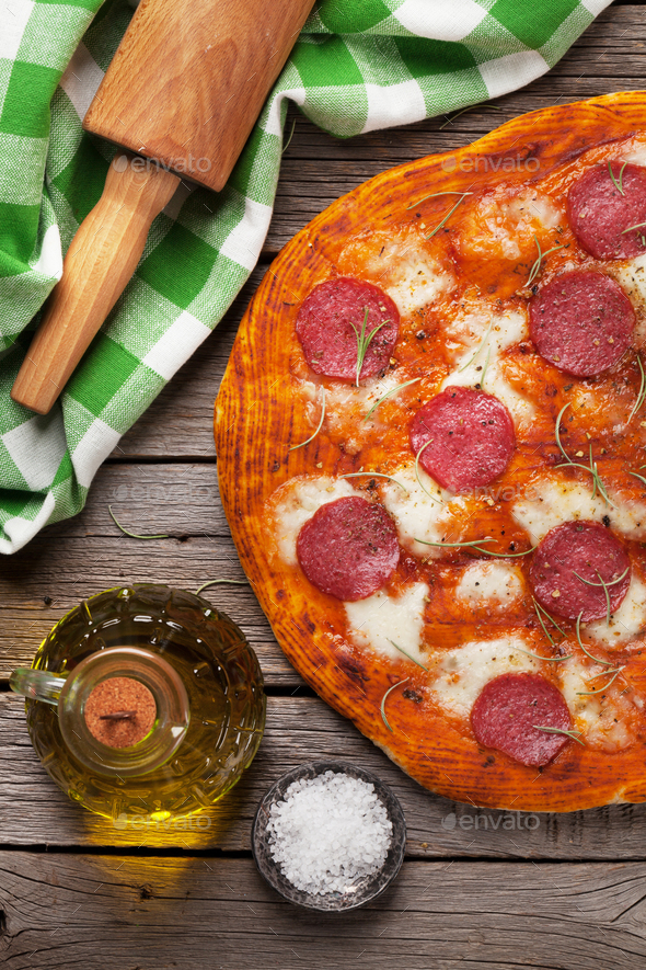 Pizza with pepperoni - Stock Photo - Images