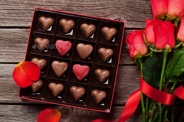 Valentines day greeting with chocolate box - Stock Photo - Images
