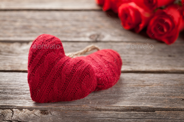Valentines day card with red roses and hearts - Stock Photo - Images