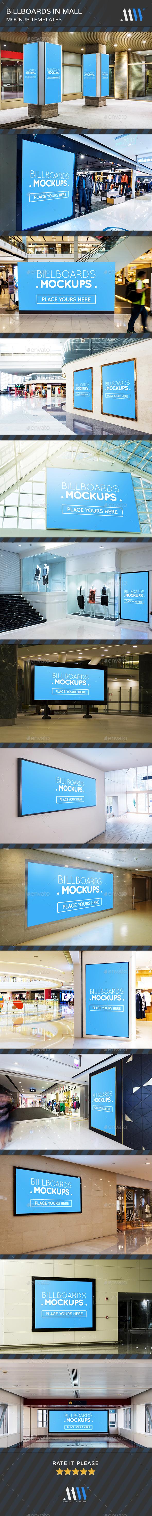 Billboards Mockups in Mall