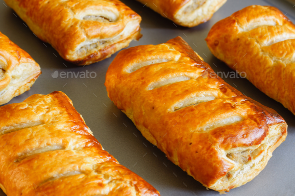 Pork Sausage Rolls in Puff Pastry - Stock Photo - Images