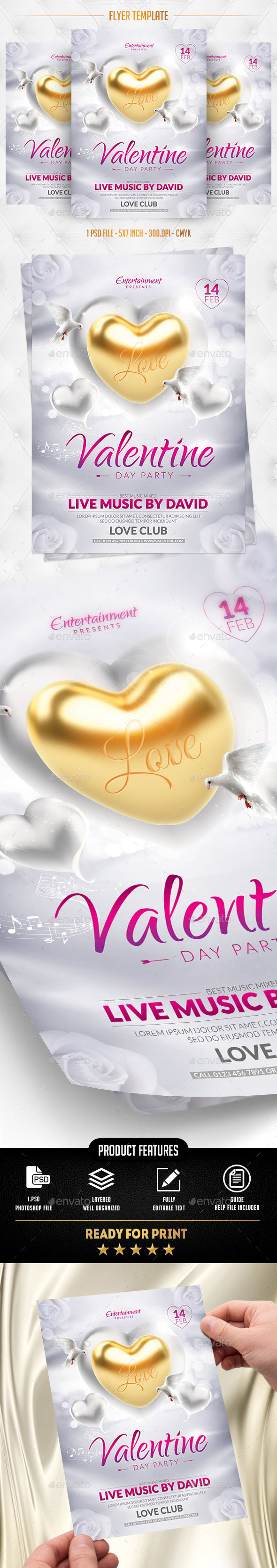 Valentine Day Party Flyer Template - Flyers Print Templates