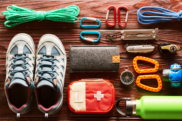 Travel items for hiking flat lay - Stock Photo - Images