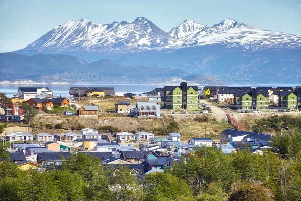 Ushuaia city, capital of Tierra del Fuego, Argentina. - Stock Photo - Images