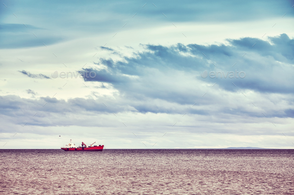 Lonely ship, Punta Arenas, Chile. - Stock Photo - Images