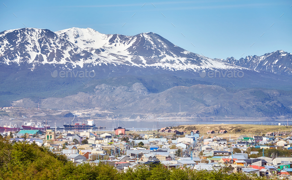 Ushuaia city, capital of Tierra del Fuego, Argentina. - Stock Photo - Images