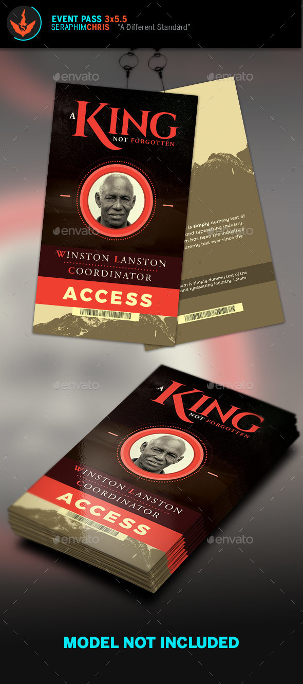 King Event Pass Template - Miscellaneous Print Templates
