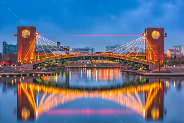 Toyama Japan Park and Bridge - Stock Photo - Images