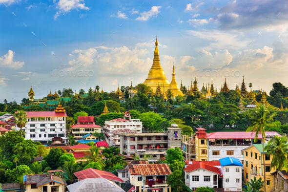 Yangon Myanmar Skyline - Stock Photo - Images