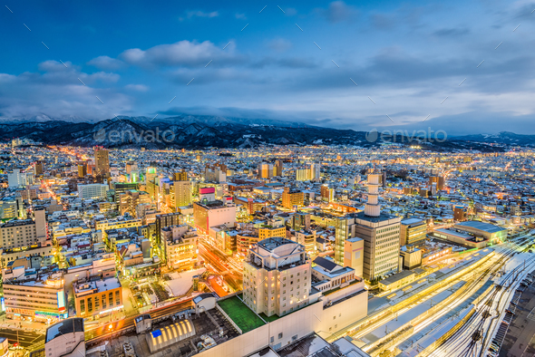 Yamagata, Japan Skyline - Stock Photo - Images