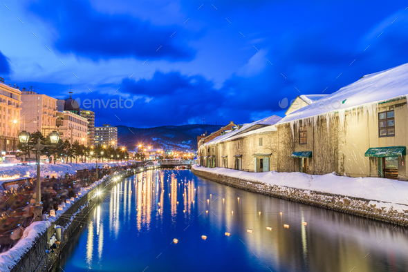 Otaru, Japan Winter Canal - Stock Photo - Images