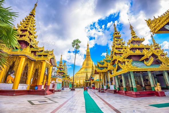 Shwedagon Pagoda in Myanmar - Stock Photo - Images