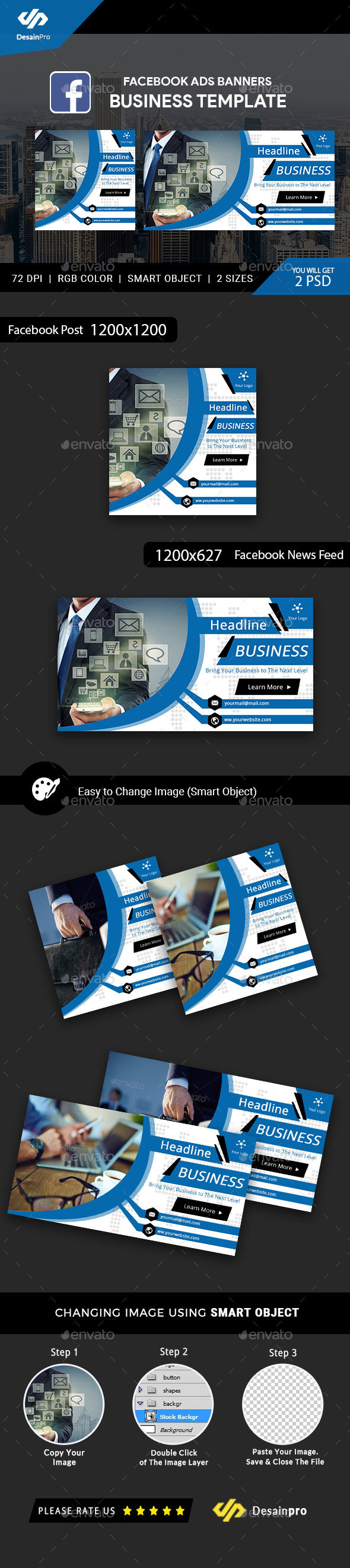 Business Service Facebook Ads Banner - AR - Social Media Web Elements