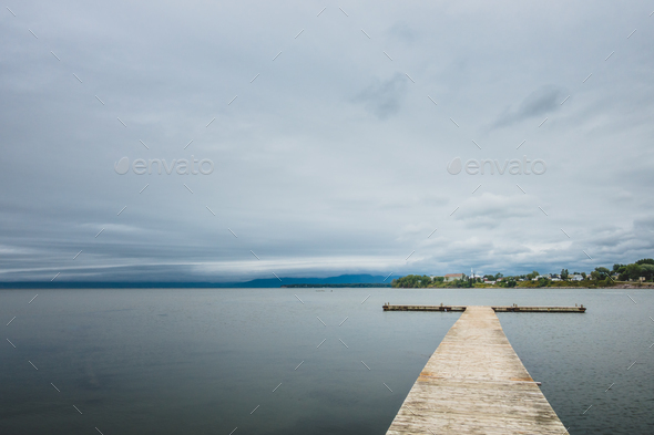 Small wooden pier at lake - Stock Photo - Images