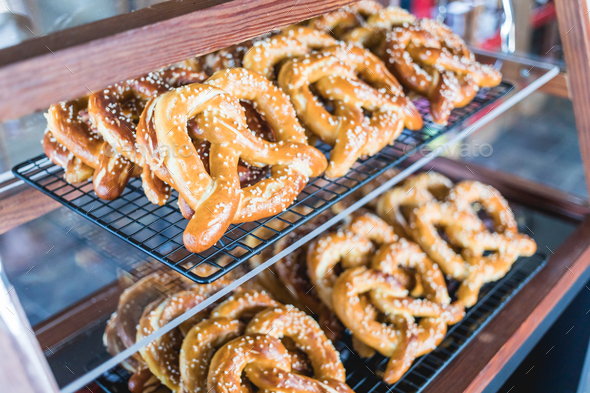 Close-up fresh baked tasty pretzels. - Stock Photo - Images