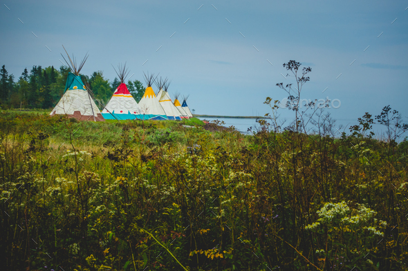Traditional houses of native Americans installation - Stock Photo - Images