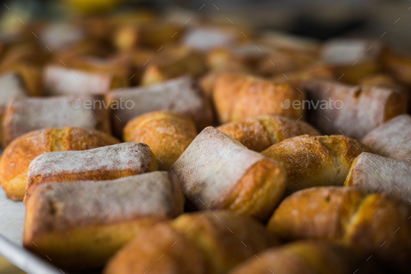 Tasty buns on pan - Stock Photo - Images