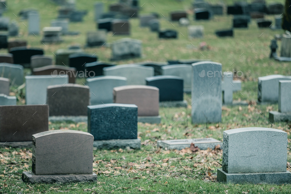 Back of Gravestones in a Old Cemetery in Autumn - Stock Photo - Images