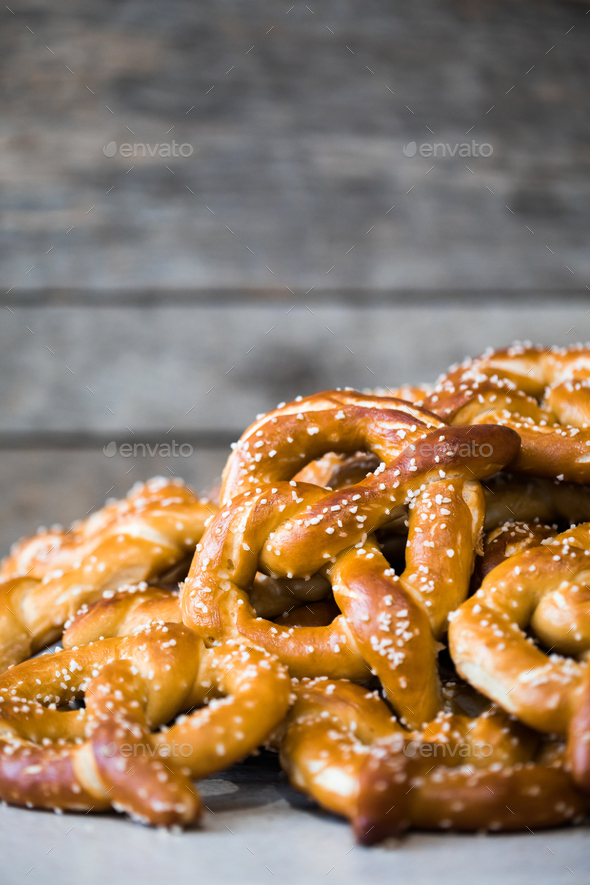 Stack of Fresh Pretzels - Stock Photo - Images