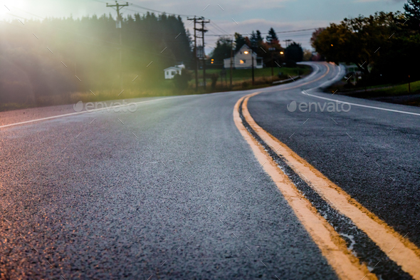 Road in autumn evening. - Stock Photo - Images