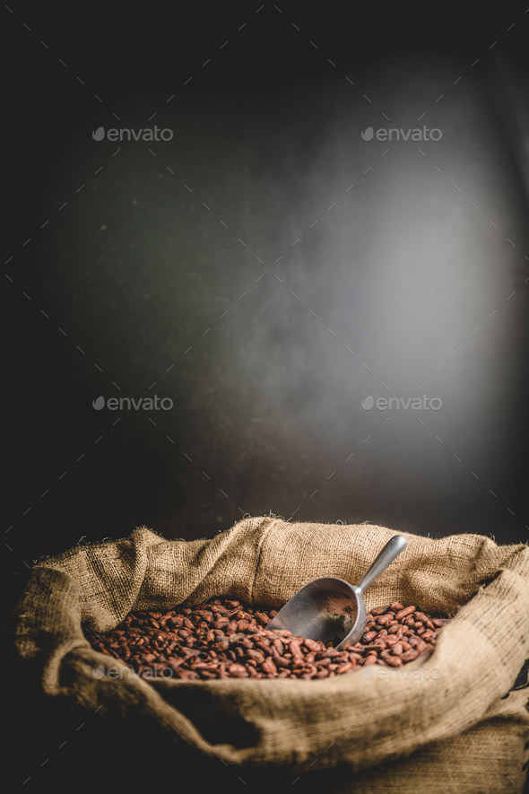 Canvas bag with delicious roasted cacao beans - Stock Photo - Images