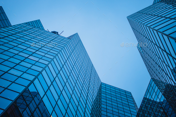 Abstract and Complex Blue Skyscraper Structure Downtown in Montr - Stock Photo - Images