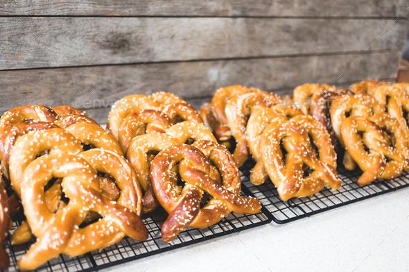 Many Freshly Baked Pretzel Cooling - Stock Photo - Images