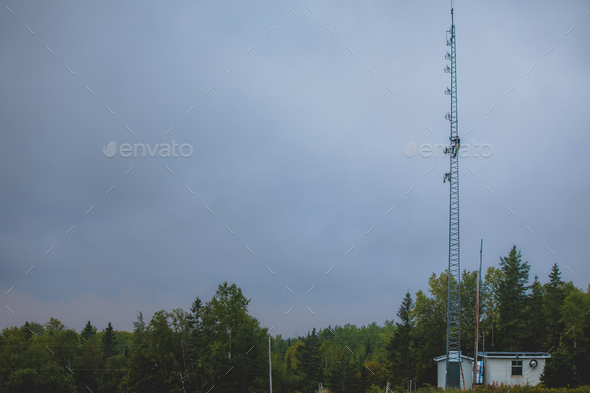 Telecom Worker Climbing Antenna Tower - Stock Photo - Images