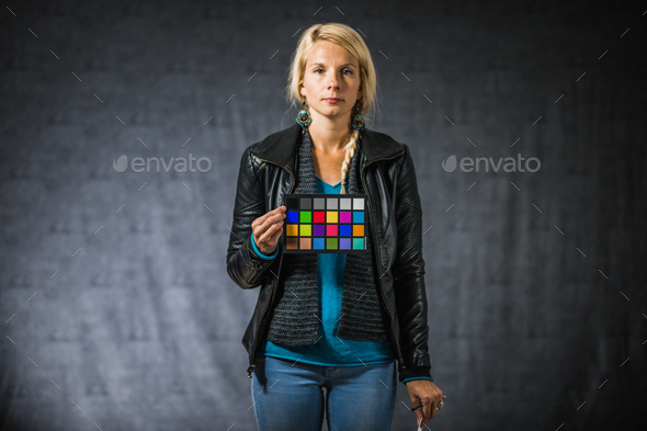 Adult blonde woman with color palette - Stock Photo - Images