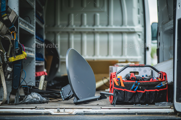 Satellite antenna and Telecommunication Accessories. - Stock Photo - Images