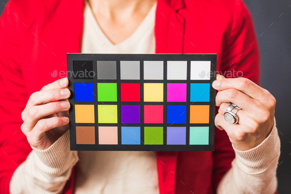 Crop woman with color board - Stock Photo - Images