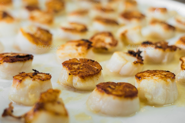 Tasty cooked�scallops on pan - Stock Photo - Images