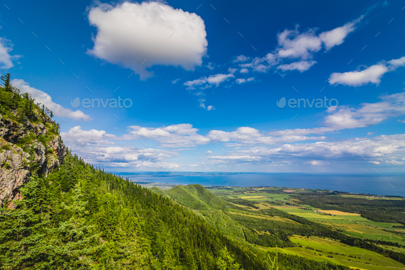 Beautiful panoramic view from the top of St-Joseph mountain, Que - Stock Photo - Images
