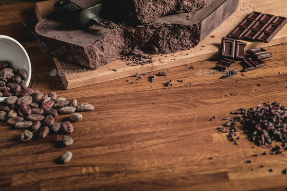 Composition of cocoa and chocolate - Stock Photo - Images