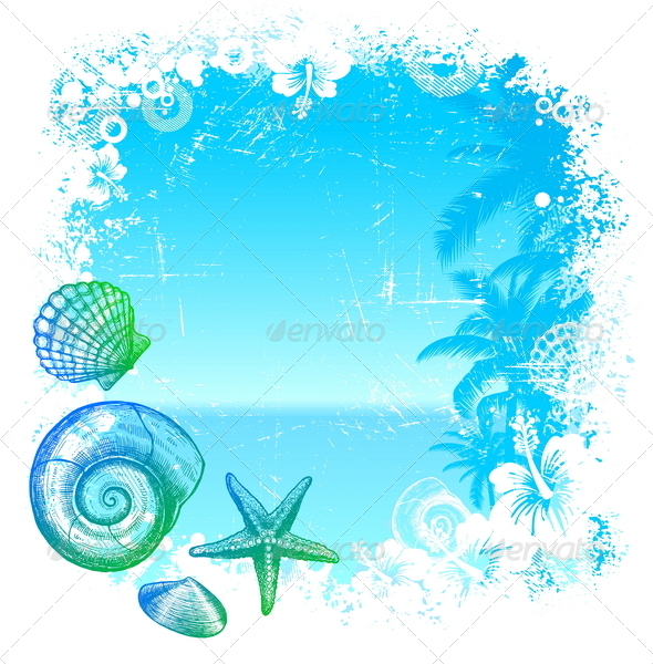 Tropical Background with Sea Fauna - Nature Conceptual