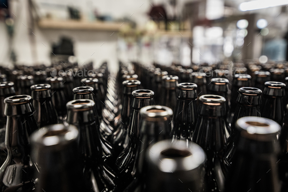 Glass bottles prepared for bottling - Stock Photo - Images