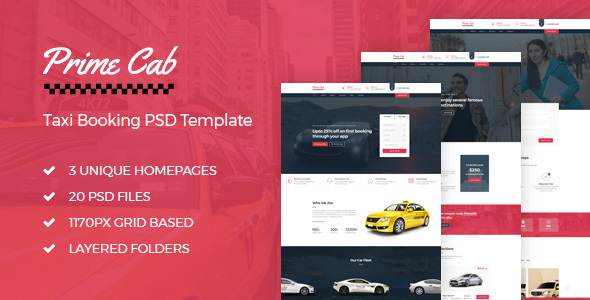 Prime Cab – Taxi Booking PSD Template