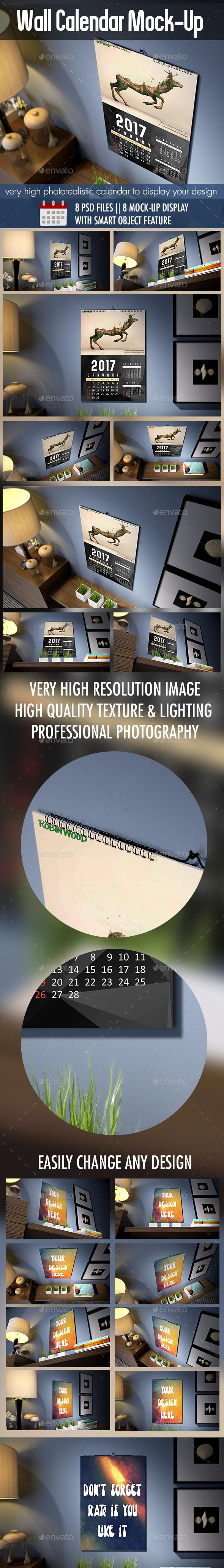 Photorealistic Wall Calendar MockUp - Print Product Mock-Ups