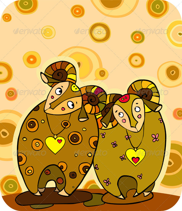 Sheep Love Cuple - Animals Characters