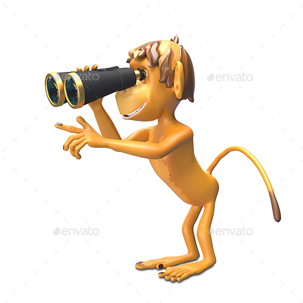 3D Illustration  Monkey with Binoculars - Characters 3D Renders