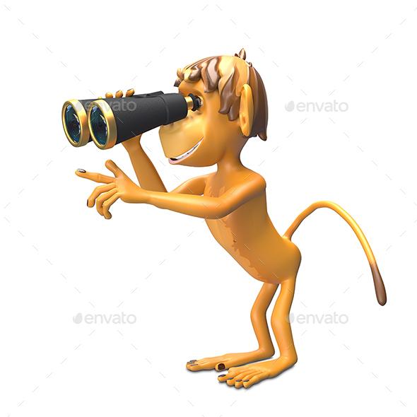 3D Illustration  Monkey with Binoculars