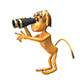 3D Illustration  Monkey with Binoculars