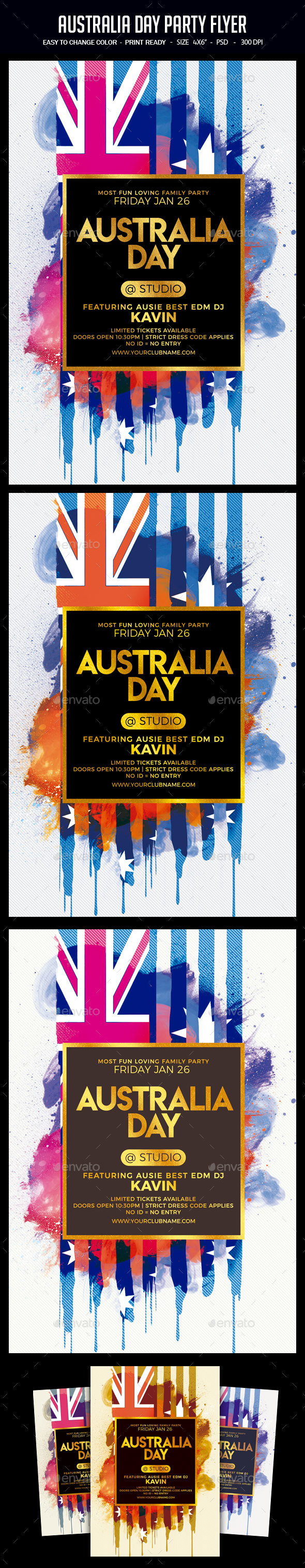 Australia Day Party Flyer - Clubs & Parties Events