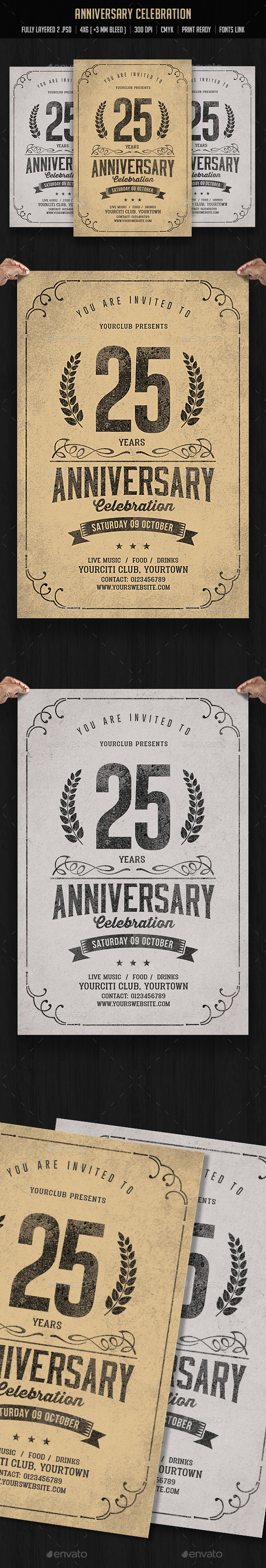 Vintage Anniversary Celebration - Events Flyers