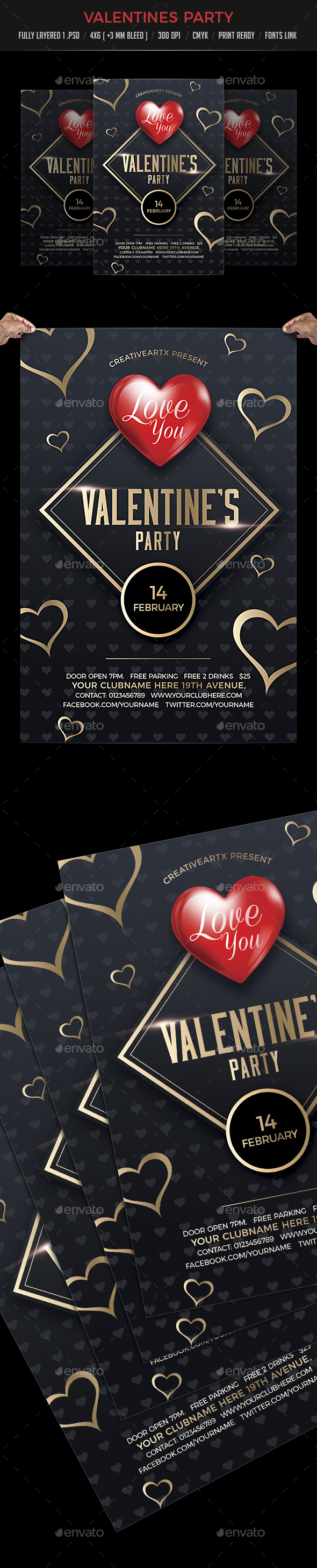 Valentines Party - Events Flyers