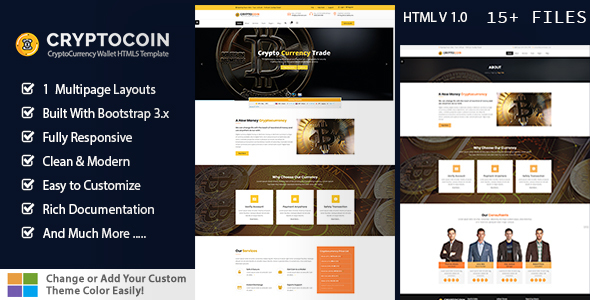 Image of Crypto Coin - Bitcoin Crypto Currency HTML template
