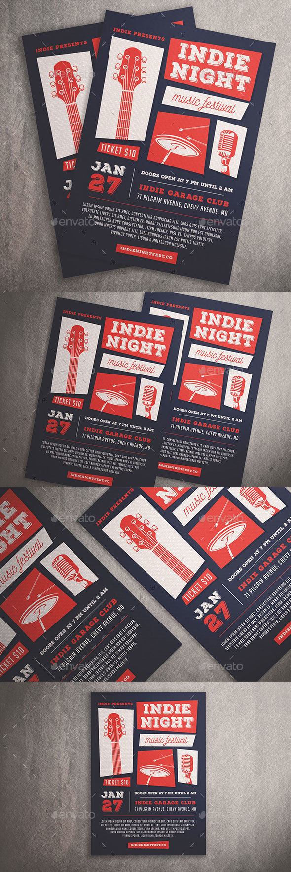 Indie Night Music Festival Flyer - Clubs & Parties Events